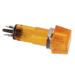 Vierkante controlelamp 230V 11,5x11,5mm amber