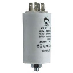 Motor run capacitor 20 µF 40x70mm 450Vac 5%  85°C