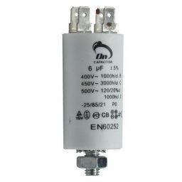 Motor run capacitor 6 µF 30x57mm 450Vac 5%  85°C.