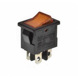 Dubbele schakelaar ON-OFF 5A/250VAC oranje verlicht