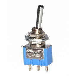 MS-500B -Toggle Switch Enkelpolig ON-(ON) 6A - 125V / 3A -250V