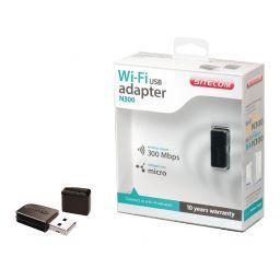 Draadloze USB-Adapter N300 2.4 GHz Zwart / Metaal