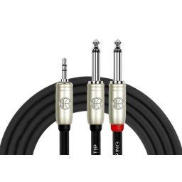 3,5mm stereo phone plug -> 2x 6,3mm mono mannelijk - 2 meter