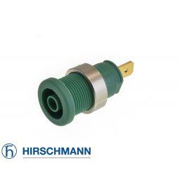 Geïsoleerde stekkerbus - Groen - 4mm - Hirschman