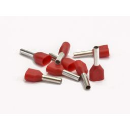 Dubbele eindhuls voor 2x1mm² rood 100st