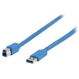 USB 3.0 Kabel USB A Male - USB-B Male Plat 2.00 m Blauw