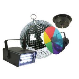 ***Discolichtkit met PAR36 puntspot, kleurwiel (5 kleuren), spiegelbol Ø 20cm met motor en led-stroboscoop