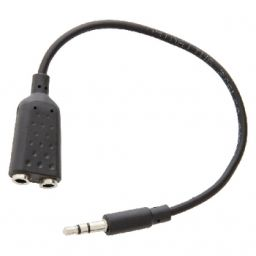 Stereo Audiokabel 3.5 mm Male - 2x 3.5 mm Female 0.20 m Zwart