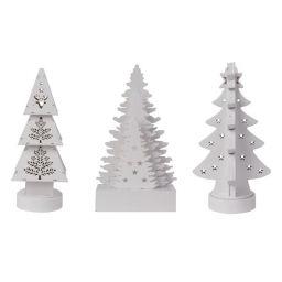 Houten kerstboom met warm witte led's - 3 stuks - XM290